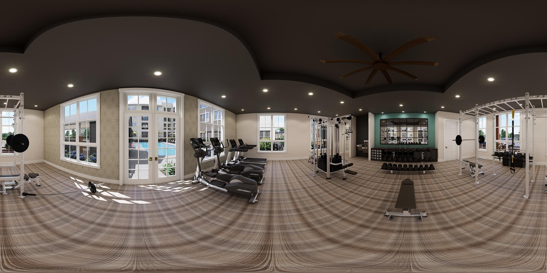 A 360 rendering of a fitness center