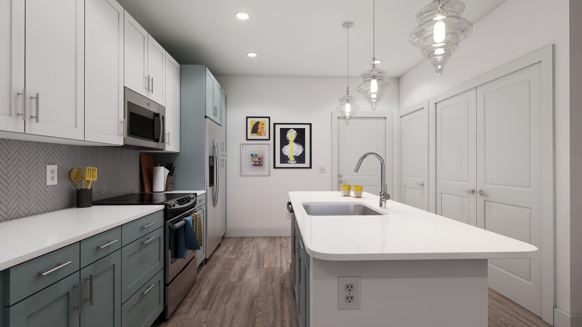 A rendering of an apartment kitchen
