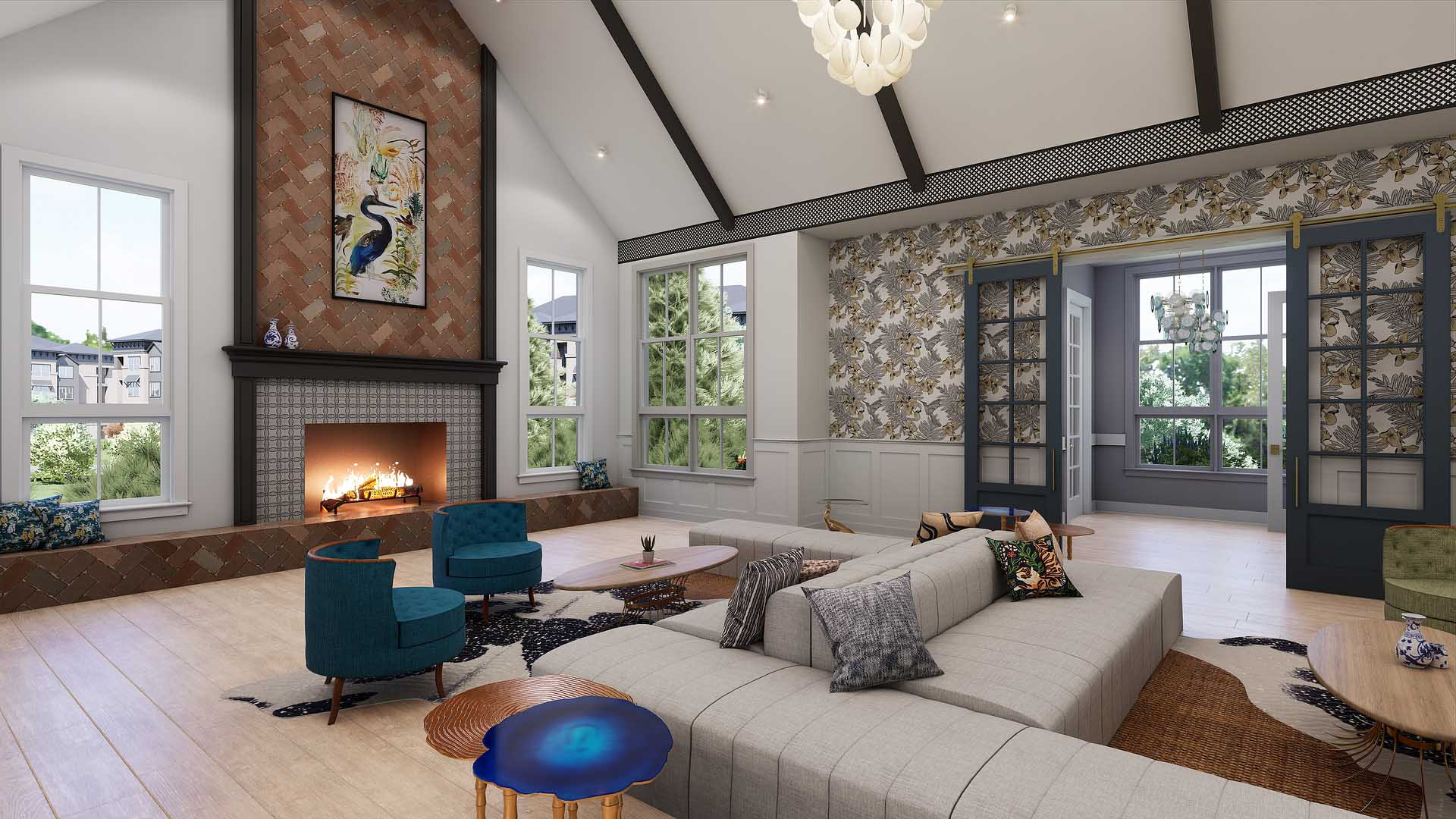 A rendering of an apartment clubroom fireplace