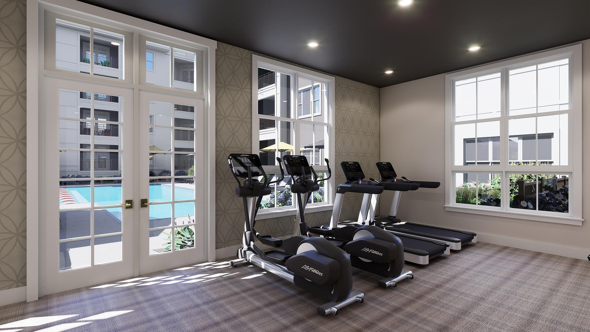 A rendering of a fitness center