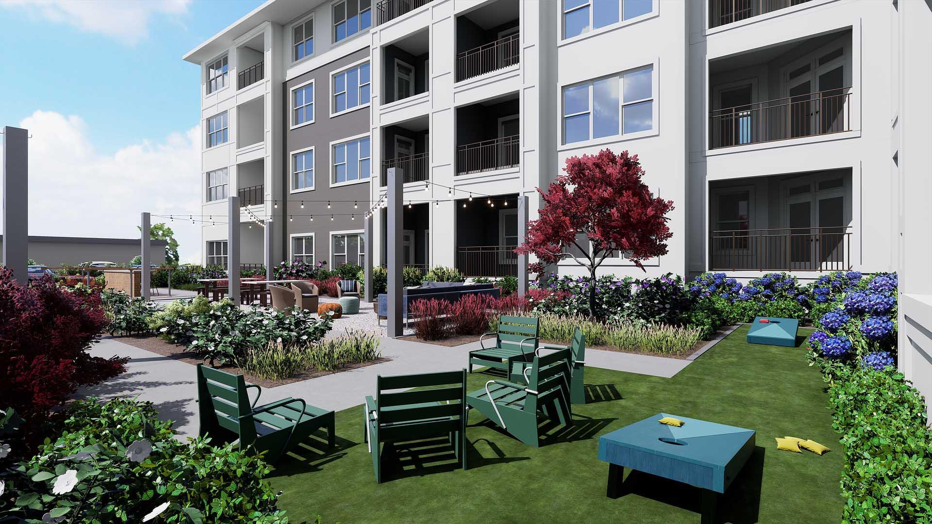A rendering of an outdoor biergarten