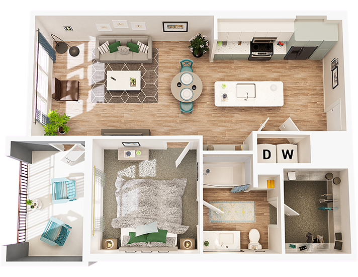 A top down 3D rendering of an apartment floorplan with the ceiling cut away