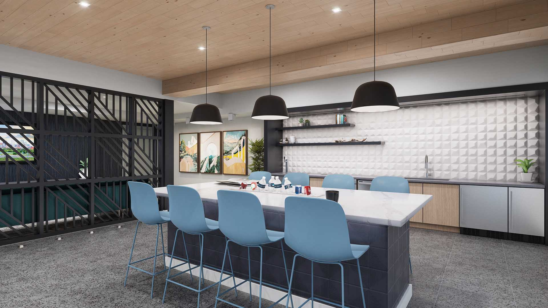 A rendering of an apartment clubroom