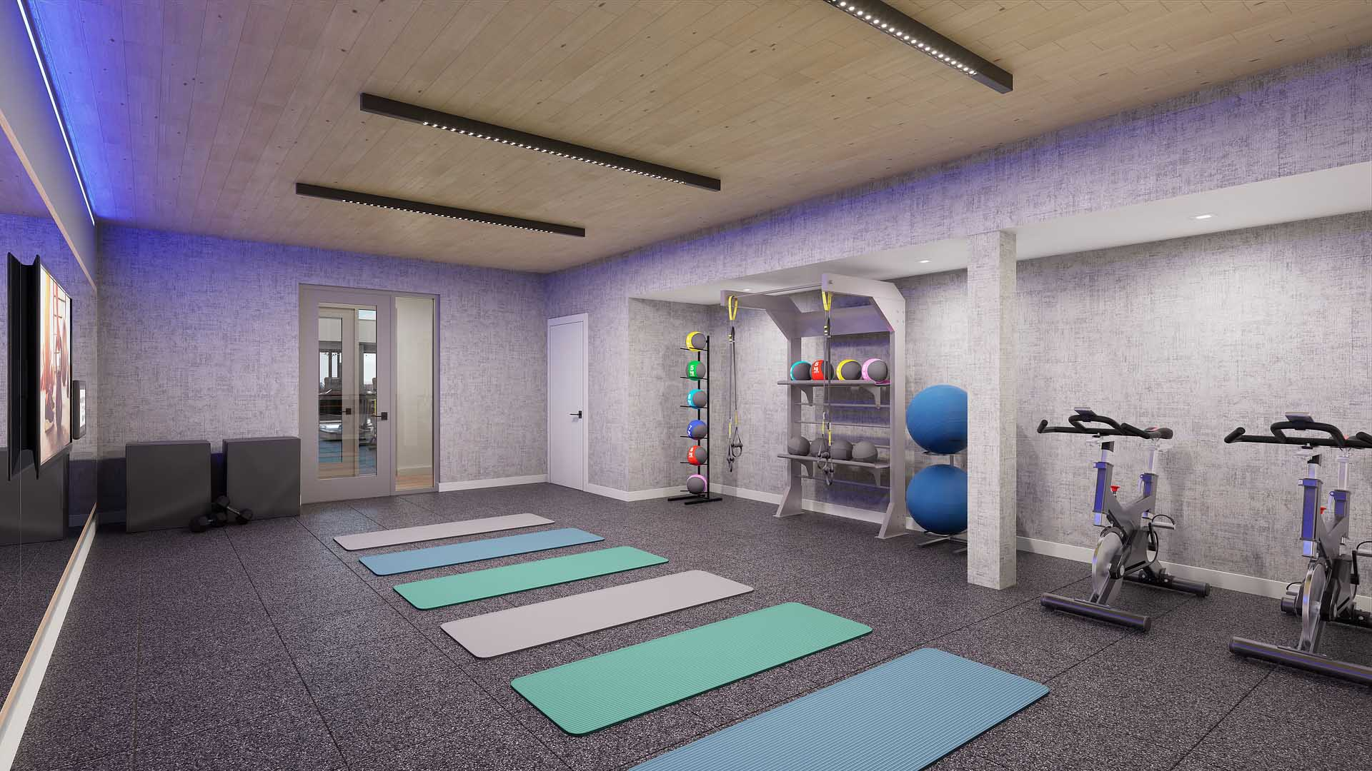 A rendering of an apartment yoga area