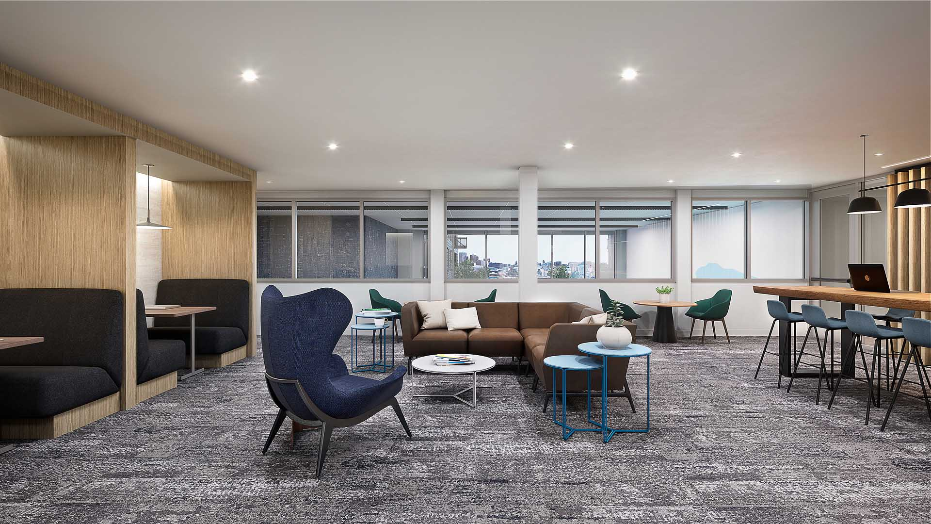 A rendering of an apartment coworking lounge