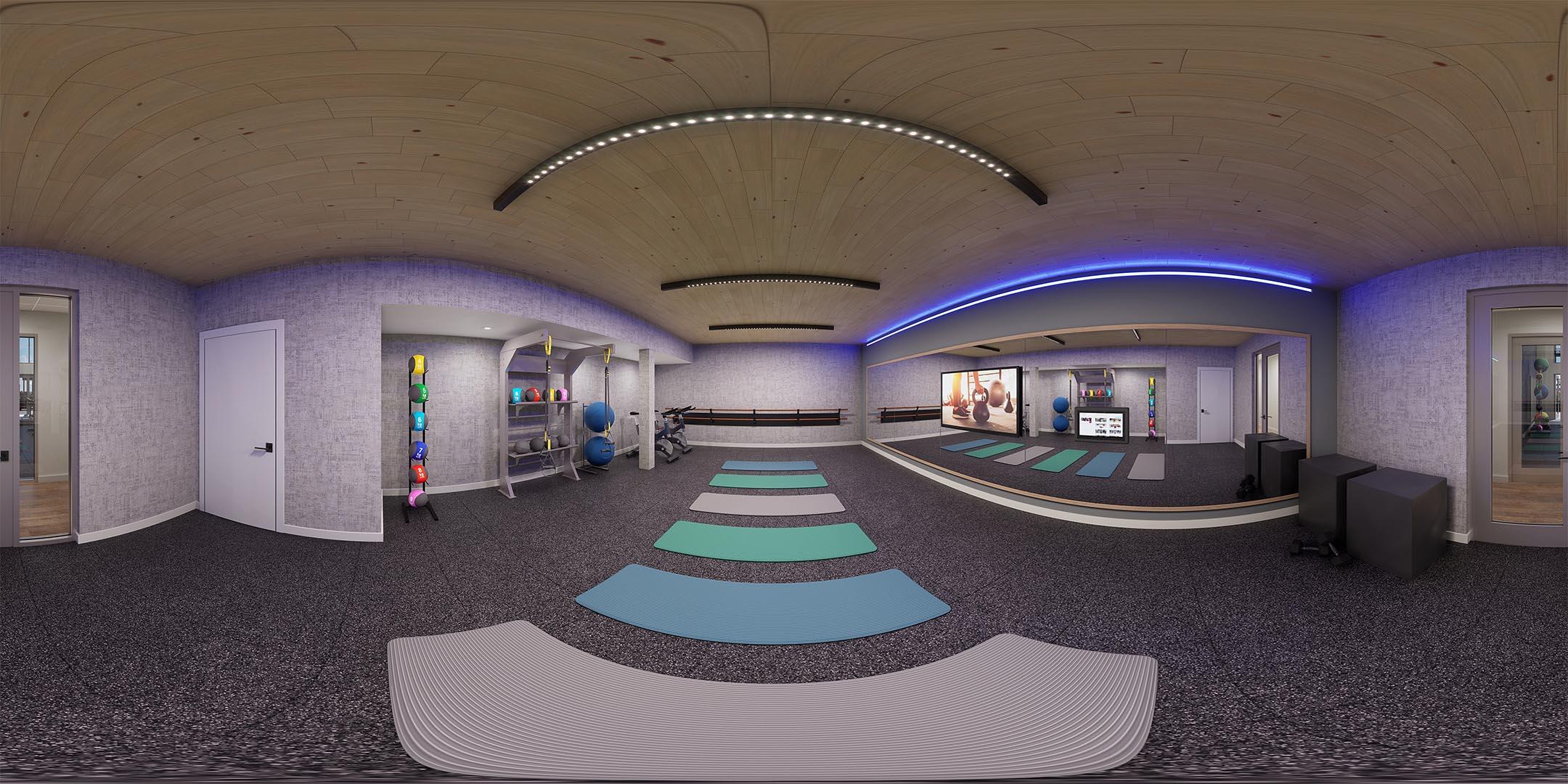 A 360 rendering of a yoga studio