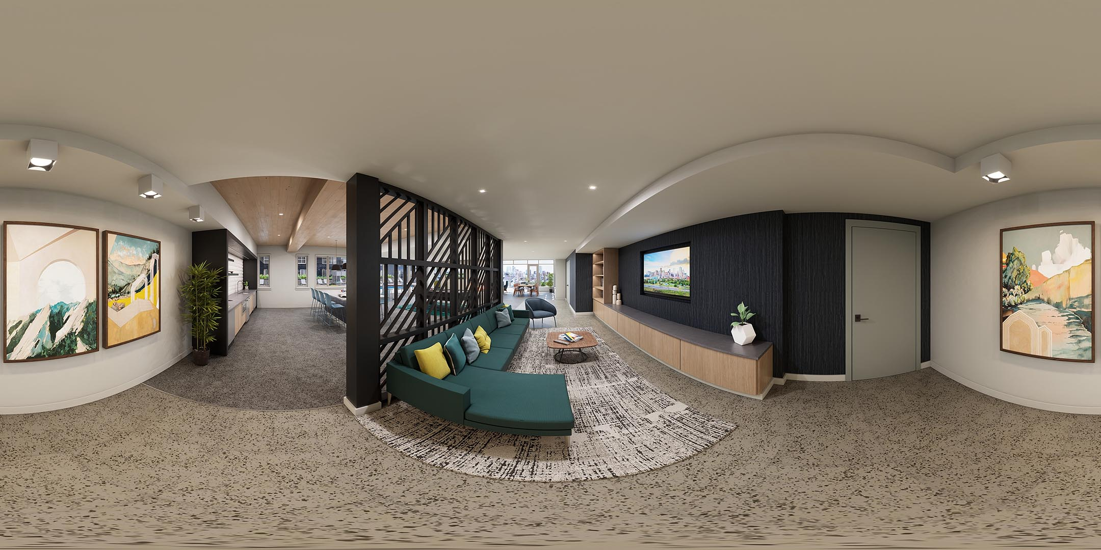 A 360 rendering of an apartment clubhouse