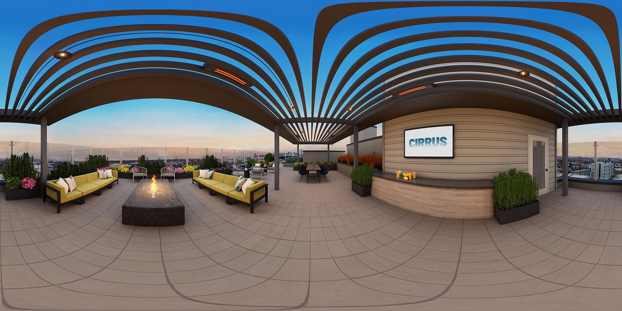 A 360 rendering of an apartment roof deck