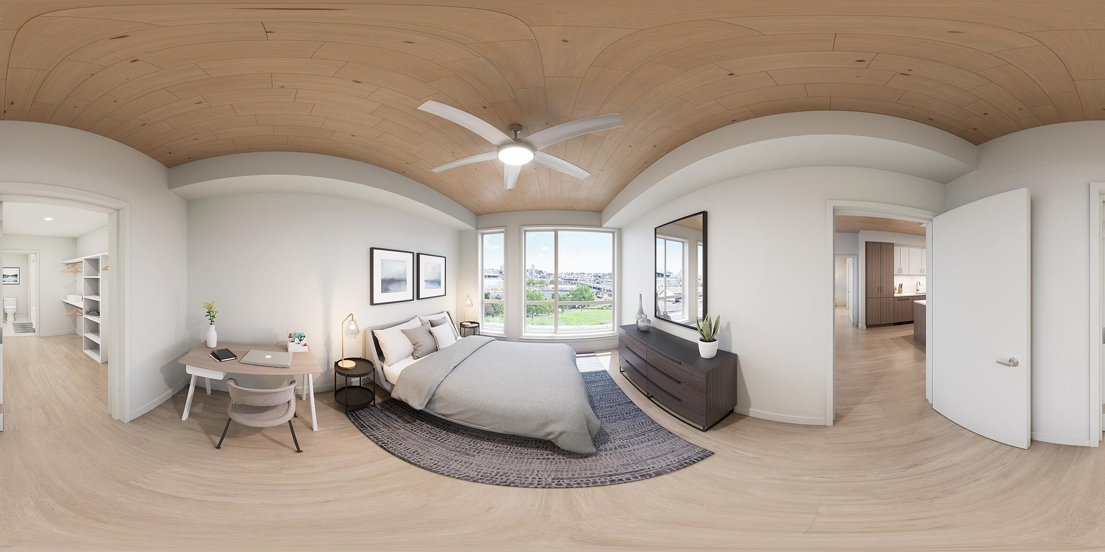 A 360 rendering of an apartment bedroom