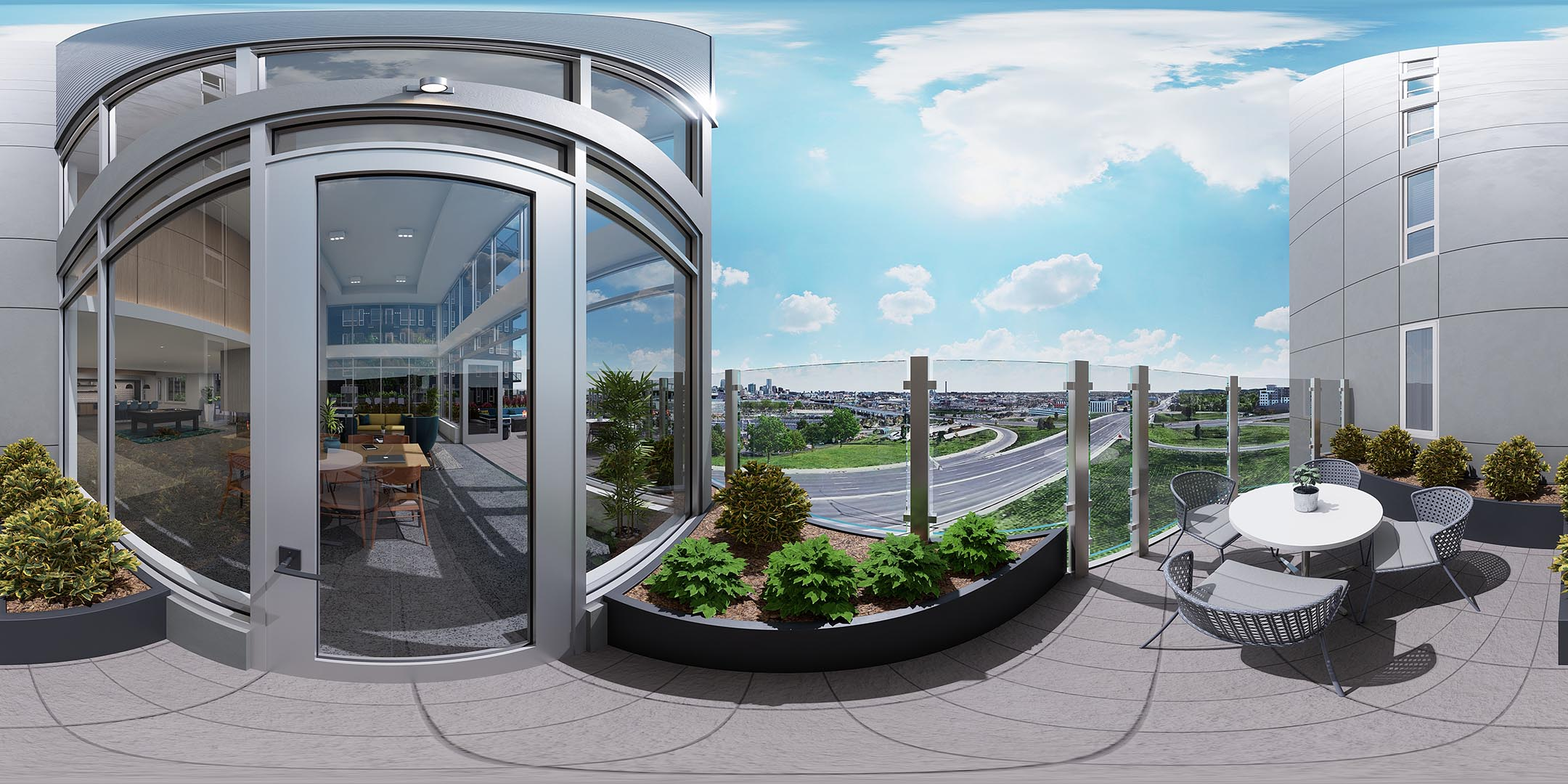 A 360 rendering of an outside courtyard space