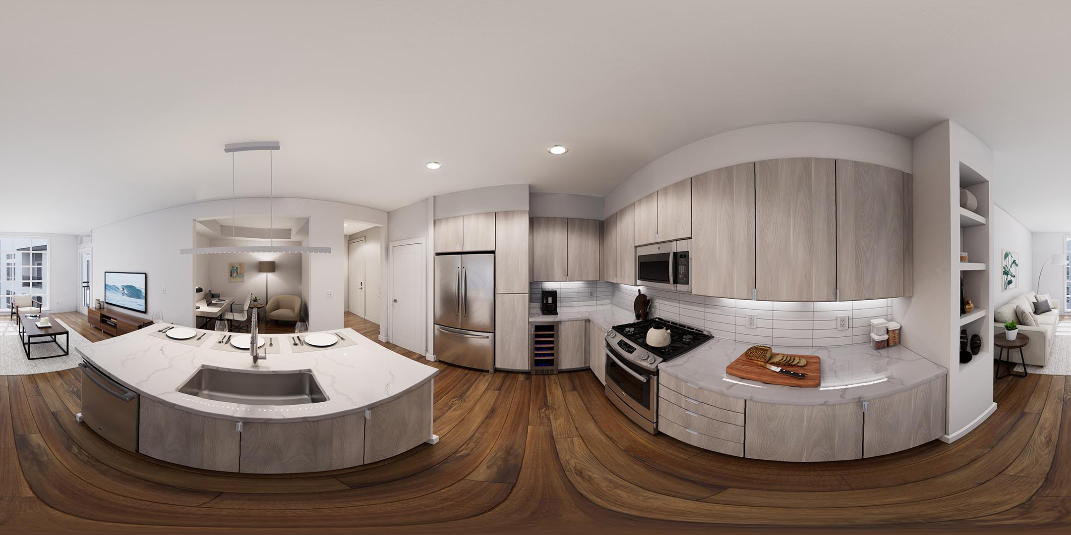 A 360 rendering of an apartment kitchen