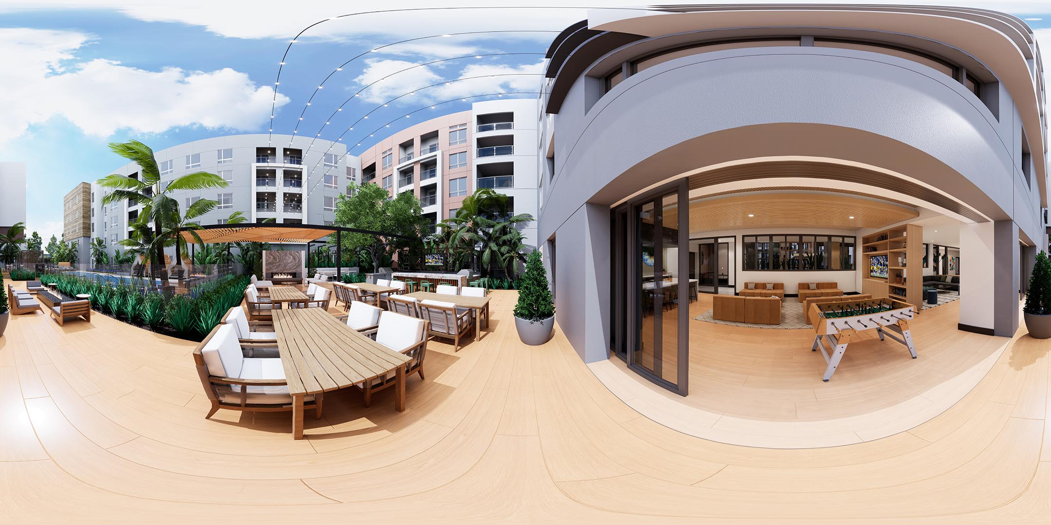 A 360 rendering of an outdoor courtyard space