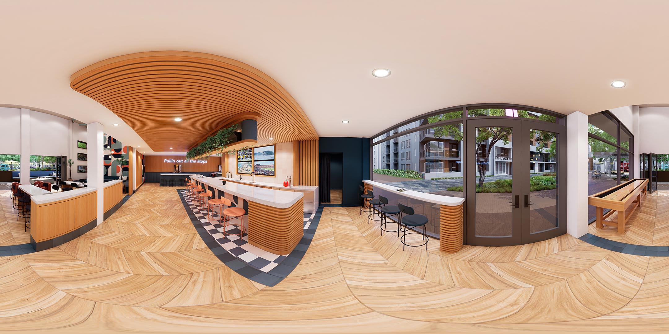 A 360 rendering of a bar area with stools and chairs