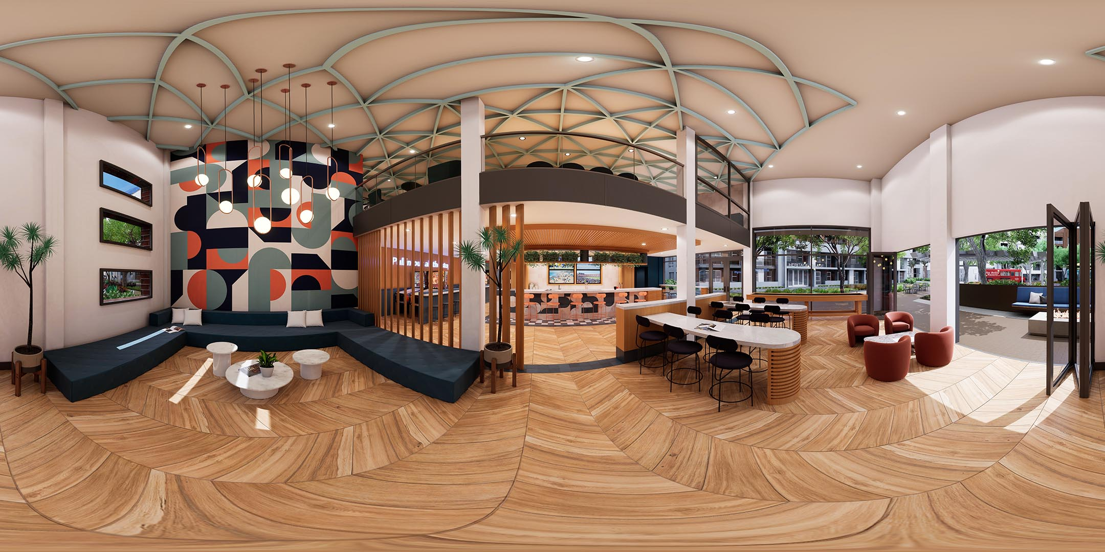 A 360 rendering of a lounge area with wood floors
