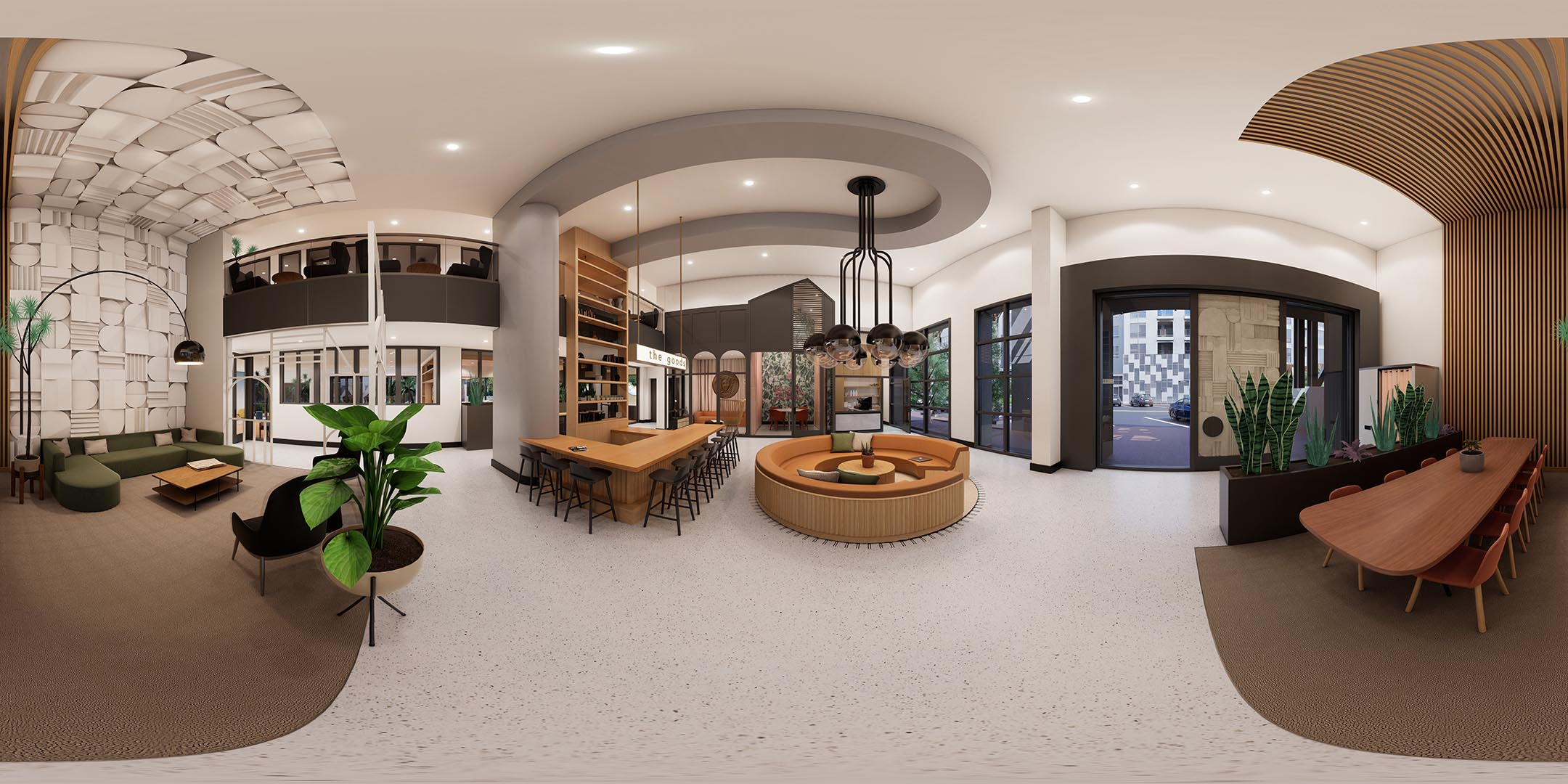 A 360 rendering of an apartment leasing lobby with 2 story ceilings
