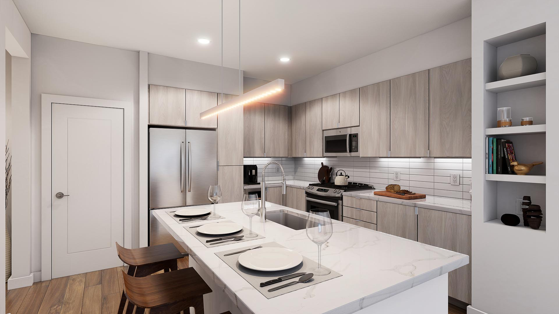 A 3D rendering of a beautiful apartment kitchen