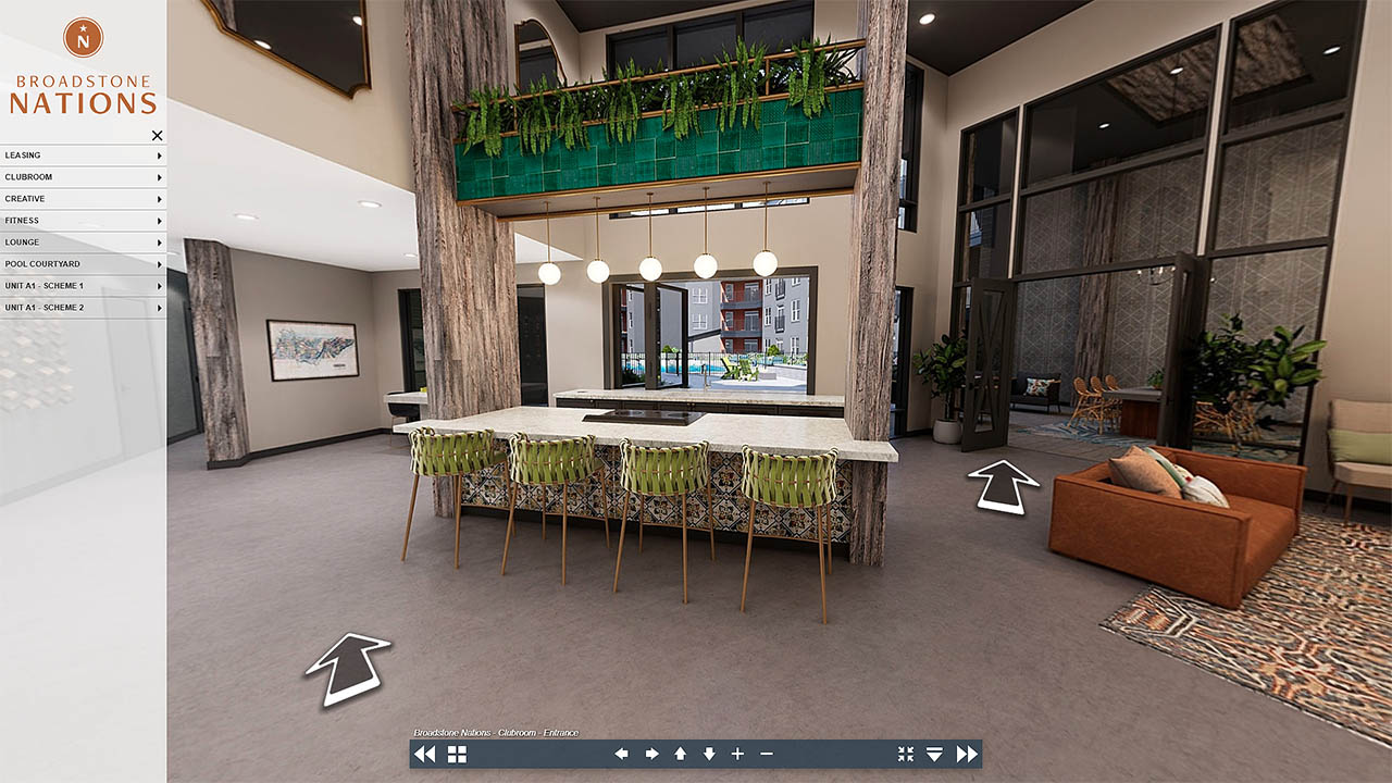 A screenshot of our Broadstone Nations virtual tour showing the menu and UI