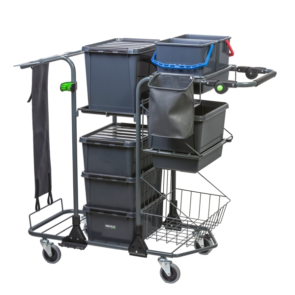 Reflex Motion P2 cleaning trolley with one box set and one basket