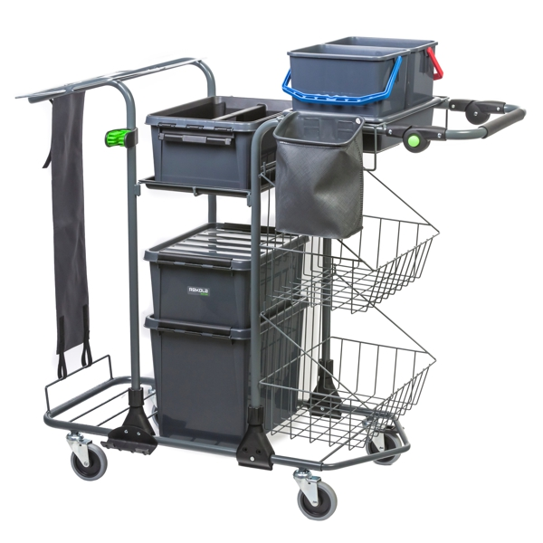 This trolley includes two 6 L buckets