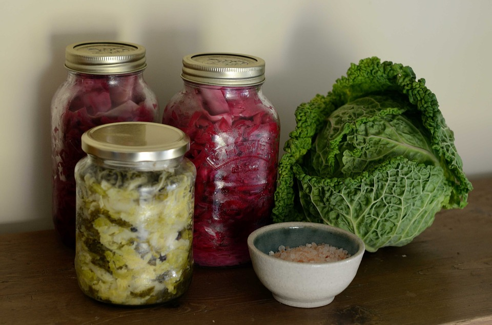 fermented cabbages in jars