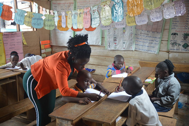 The headteacher engaging with pupils