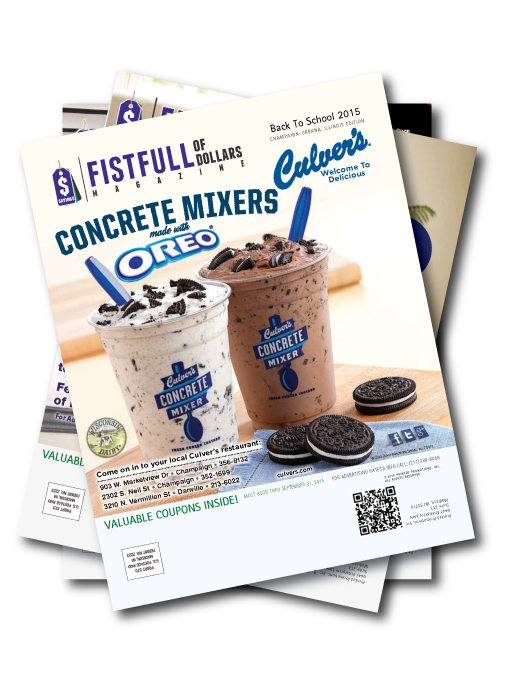 A stack of magazines with a Culver's restaurant coupon showing