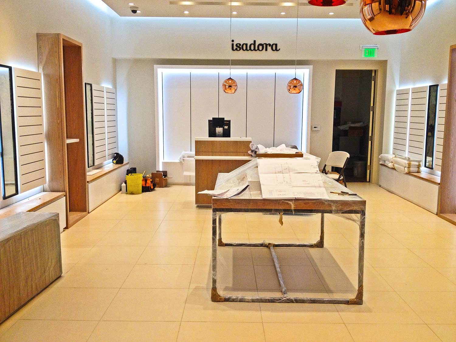 Plans of construction and design details for Isadora store