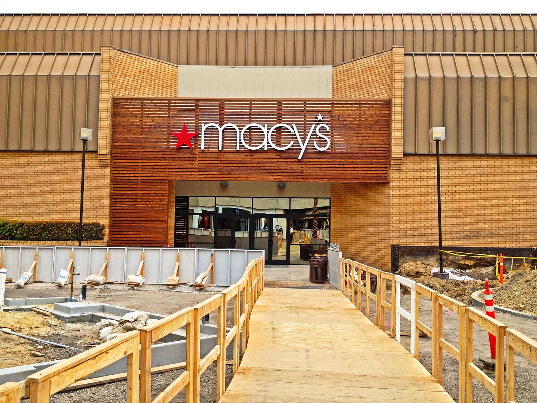 Macy's building exterior construction