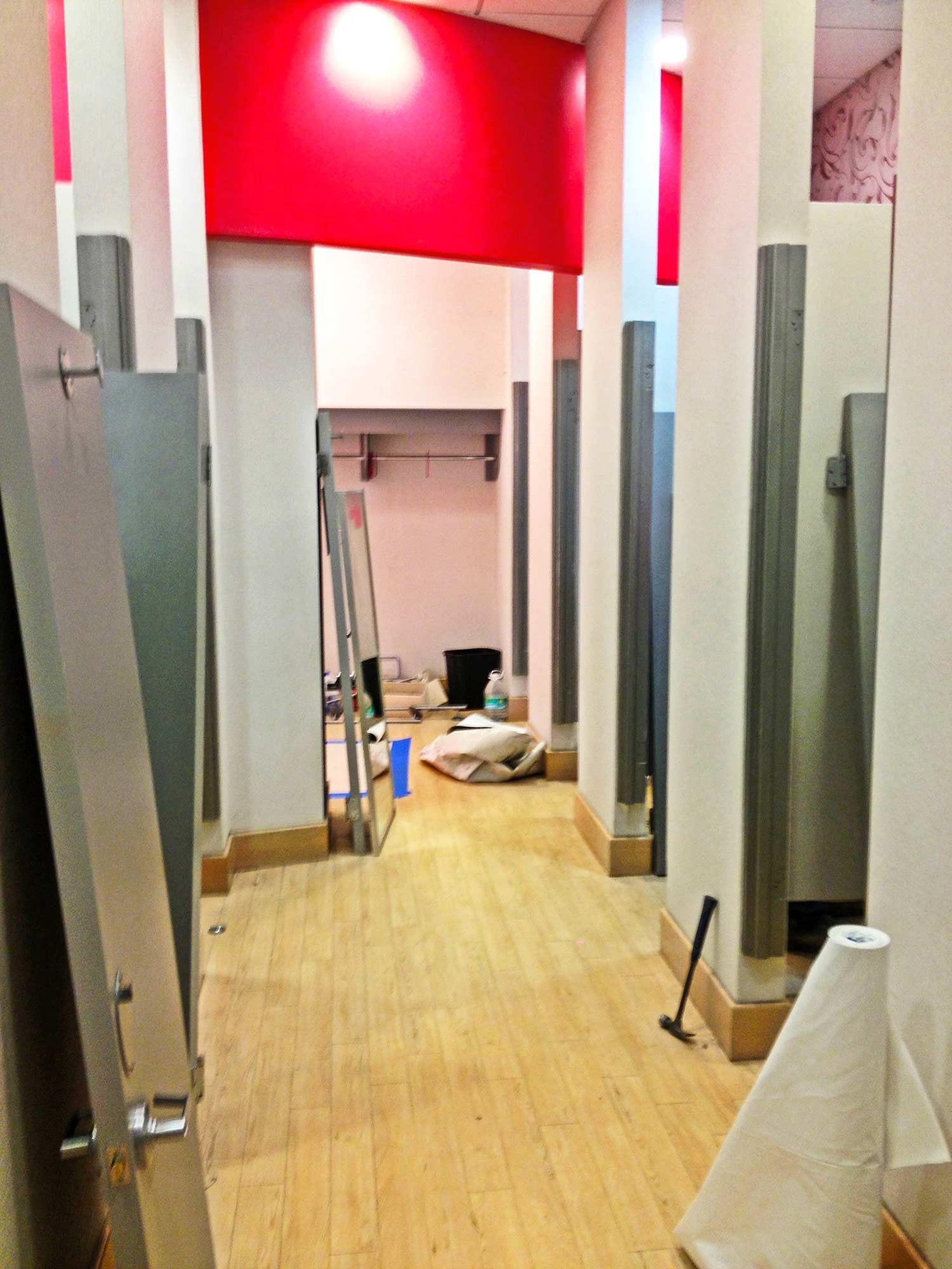 Interior of dressing rooms at Charlotte Russe