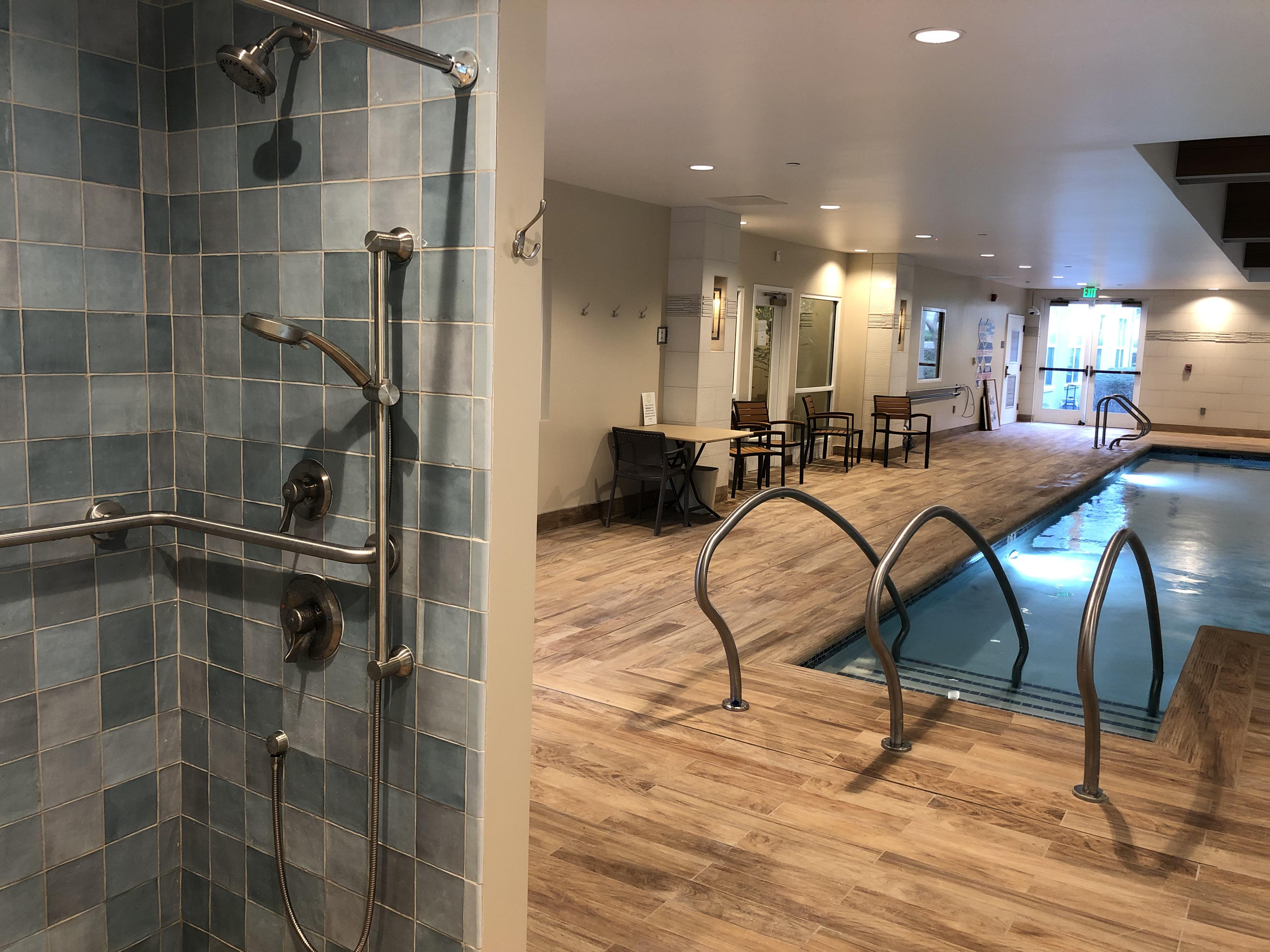 Interior Pool Remodel ceramic tile Mediterranean luxury trespa panels indoor pool
