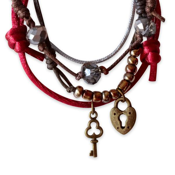 Lock & Key Bracelets - 4 Piece Set