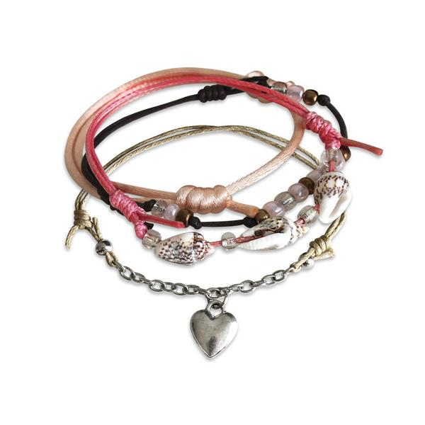Seaside Heart Bracelets - 4 Piece Set