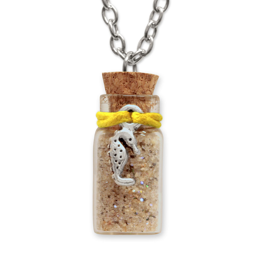 Sand Bottle Necklace - Seahorse Charm - Yellow