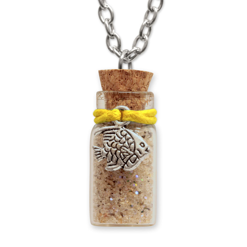 Sand Bottle Necklace - Tropical Fish Charm - Yellow