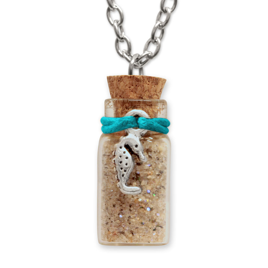 Sand Bottle Necklace - Seahorse Charm - Teal