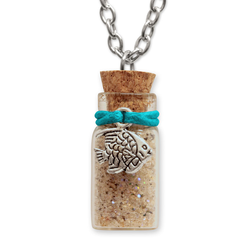 Sand Bottle Necklace - Tropical Fish Charm - Teal