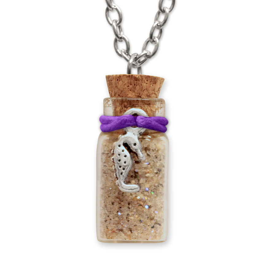 Sand Bottle Necklace - Seahorse Charm - Purple