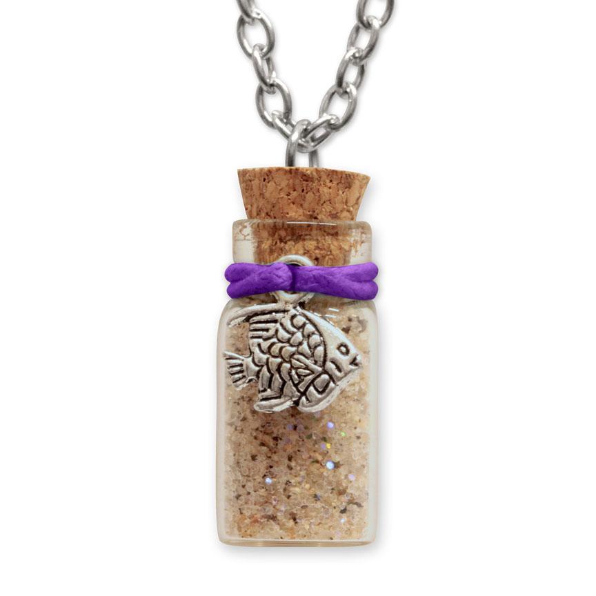 Sand Bottle Necklace - Tropical Fish Charm - Purple