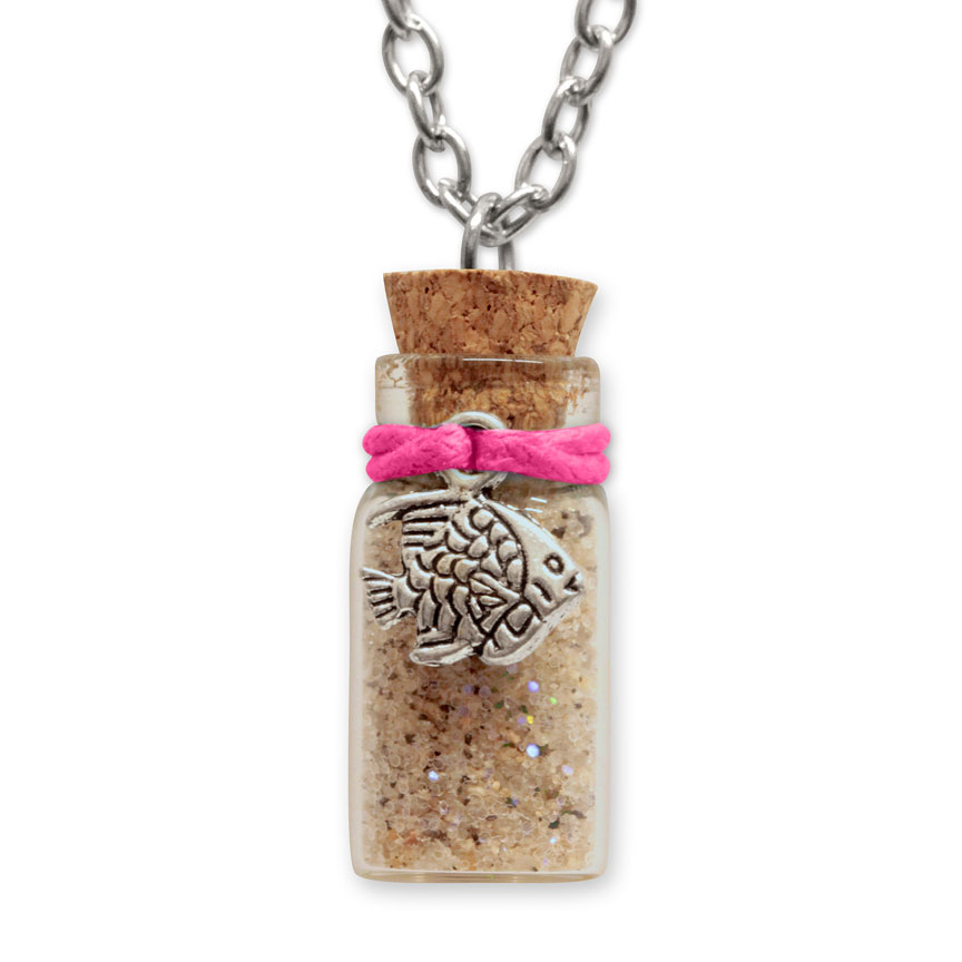 Sand Bottle Necklace - Tropical Fish Charm - Pink