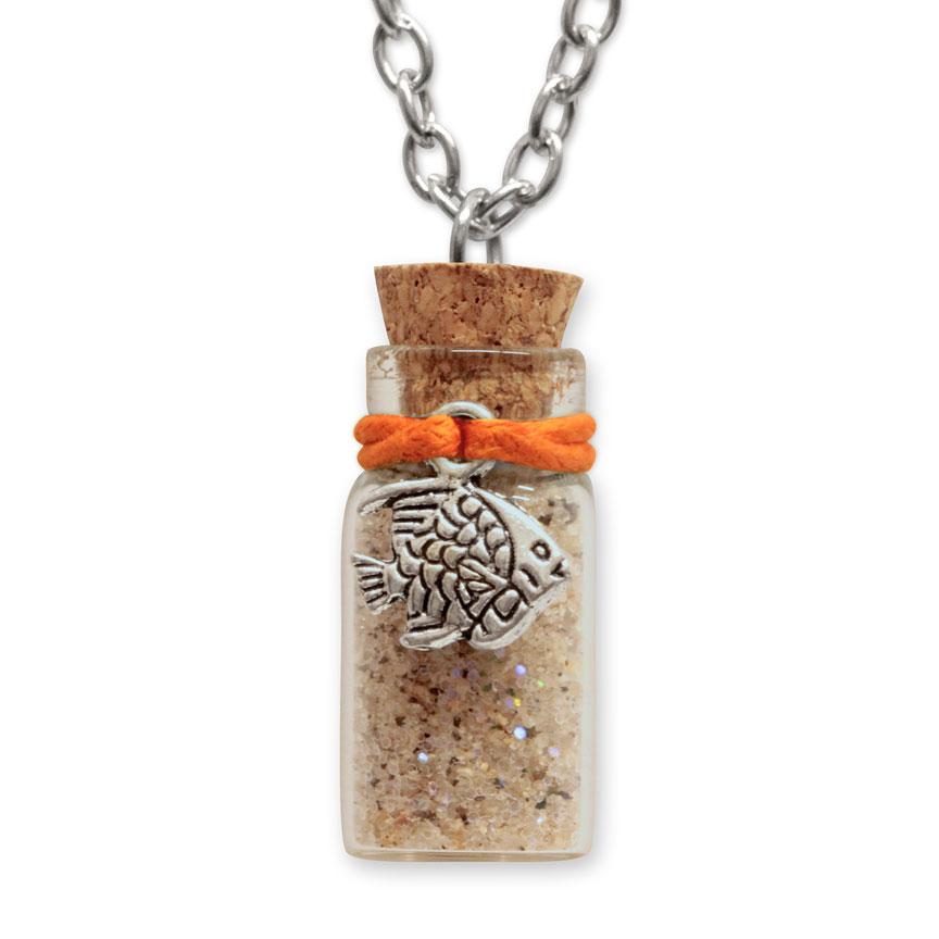 Sand Bottle Necklace - Tropical Fish Charm - Orange
