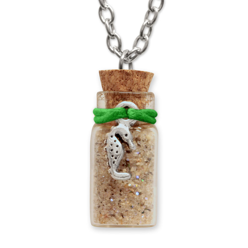 Sand Bottle Necklace - Seahorse Charm - Green