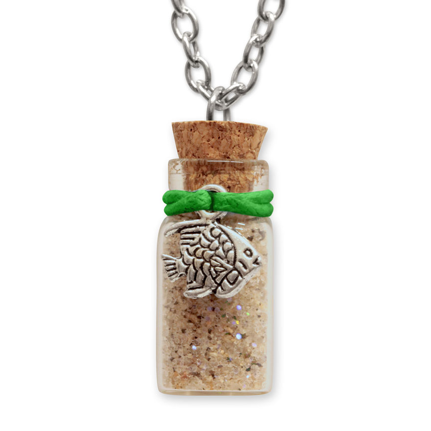 Sand Bottle Necklace - Tropical Fish Charm - Green