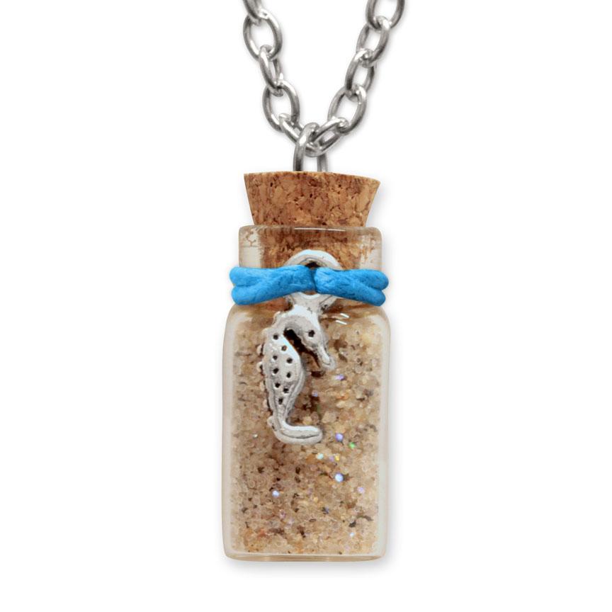 Sand Bottle Necklace - Seahorse Charm - Blue