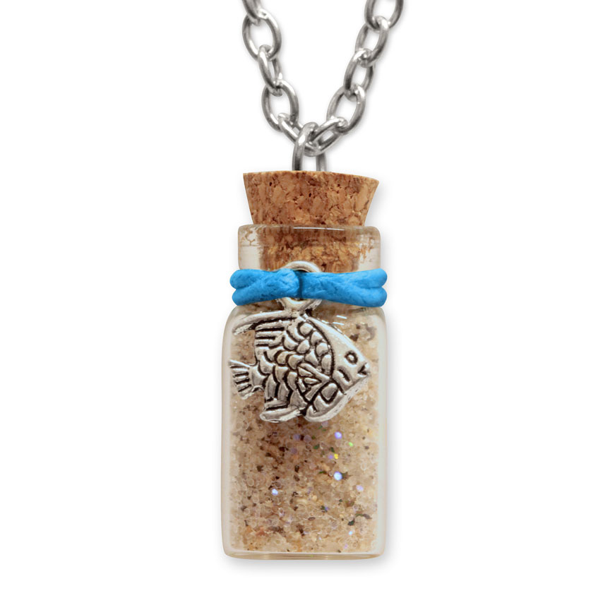 Sand Bottle Necklace - Tropical Fish Charm - Blue