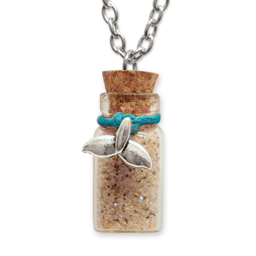 Sand Bottle Necklace - Mermaid Tail Charm - Teal