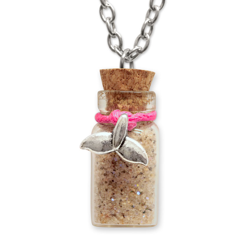 Sand Bottle Necklace - Mermaid Tail Charm - Pink