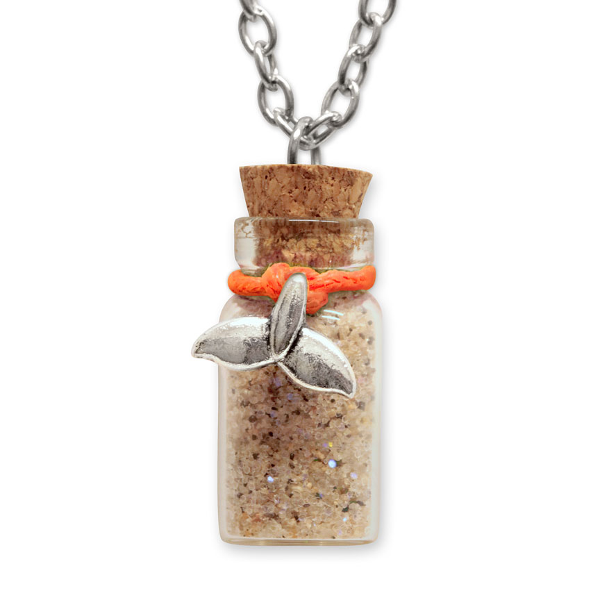 Sand Bottle Necklace - Mermaid Tail Charm - Orange