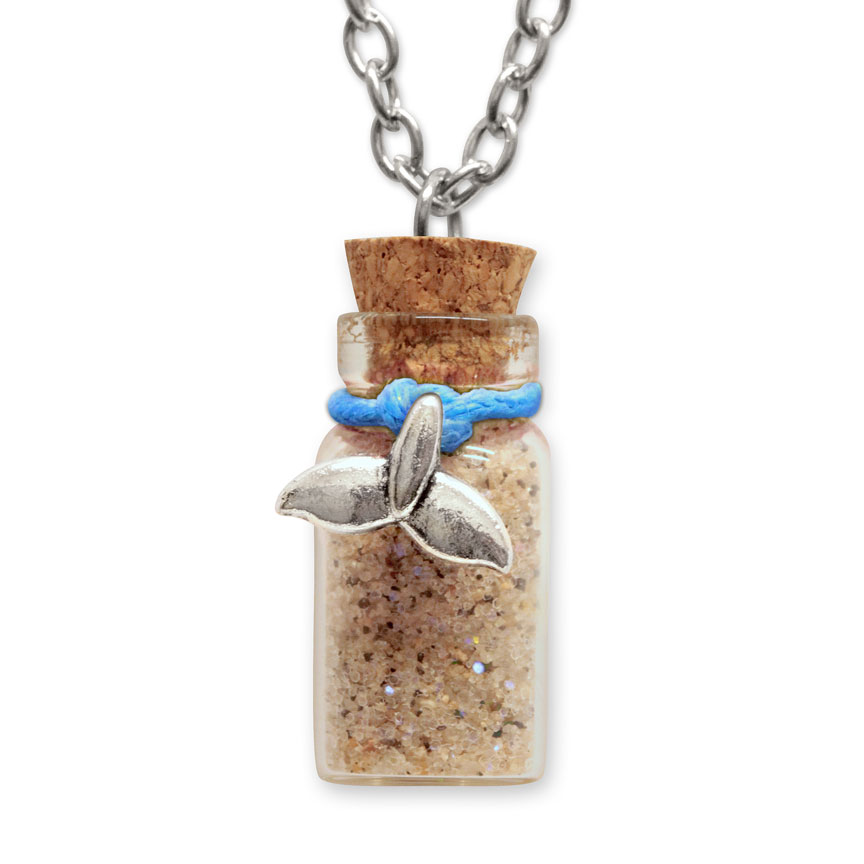 Sand Bottle Necklace - Mermaid Tail Charm - Blue