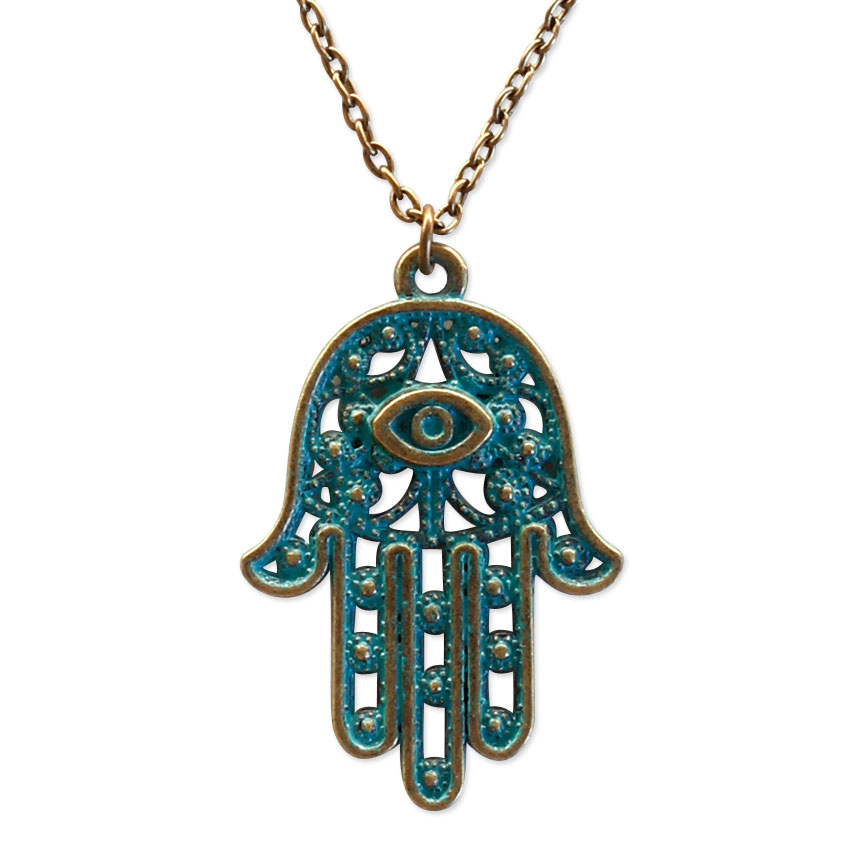 Breath in, breath out - let this hamsa hand necklace bring serenity and comfort.