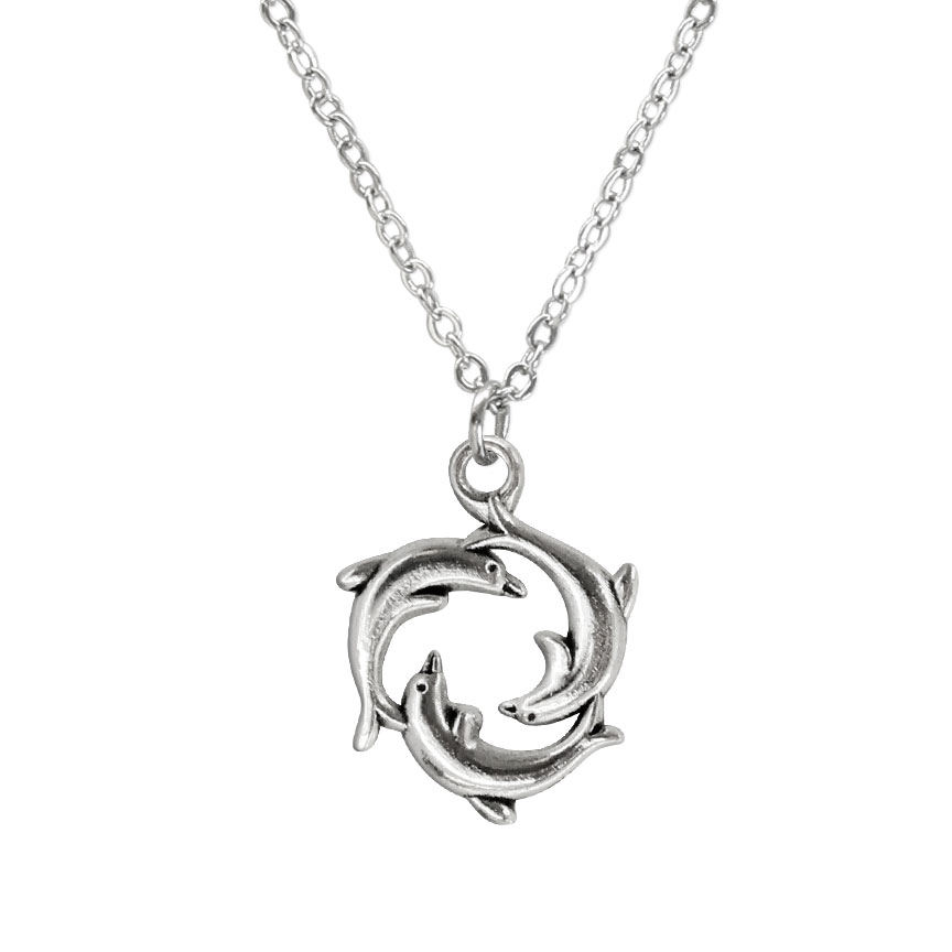 Swimming is always more fun with friends - these dolphins stick together on the dolphin ring charm necklace form an endless ring. Beach Life Charm Necklaces are the perfect summer accessory for those long afternoons on the beach with your friends! O Yeah!